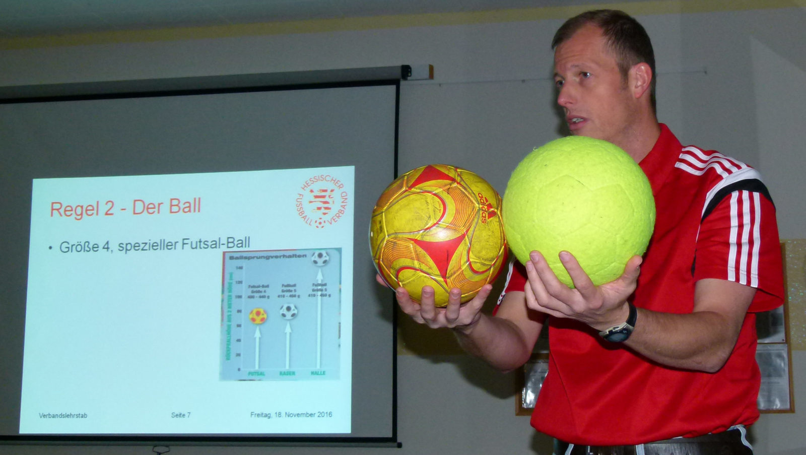 Fachkundiger Referent: Volker Höpp - Mitglied des Verbandslehrstabs - gab den Dill-Schiris im AWO-Mehrgenerationenhaus eine umfangreiche Einführung in die Futsal-Regeln. (Foto: Spahn)